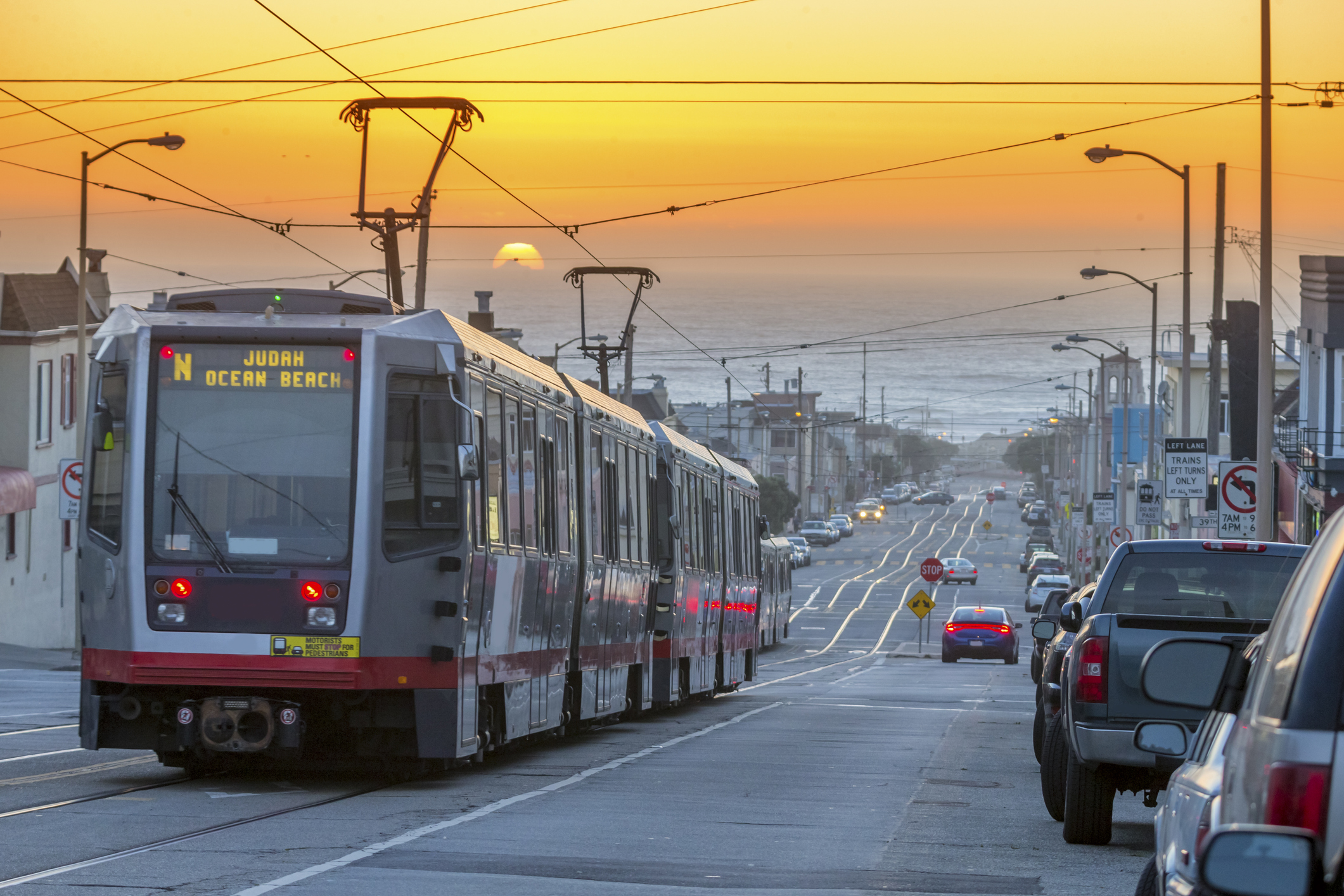San Francisco lightrail drive to  the sea under Sunset